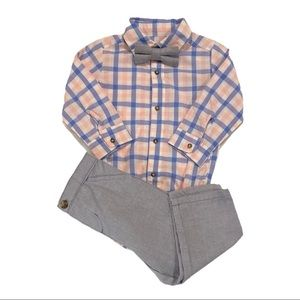 Baby Boy's Long Sleeve Button Down Bow Tie Set